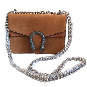 Tan Suede Leather Chain Crossbody Bag New